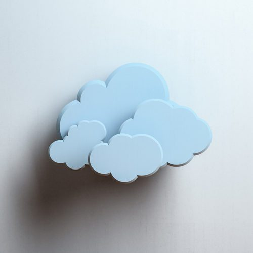 Blue clouds on concrete background. Cloud computing concept with copy space